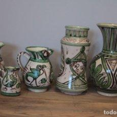 Antigüedades: LOTE DE 5 PIEZAS DE CERÁMICA DOMINGO PUNTER, TERUEL. FIRMADAS EN LA BASE.. Lote 222115508