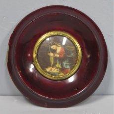 Antigüedades: MARCO DE MADERA PARA MINIATURA. CRISTAL CONCAVO. Lote 222130521