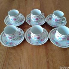 Antigüedades: JUEGO DE SEIS TAZAS DE CAFE. PORCELANA. Lote 222132400