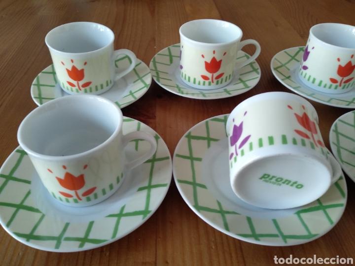 Antigüedades: JUEGO DE SEIS TAZAS DE CAFE REVISTA PRONTO - Foto 2 - 222141586