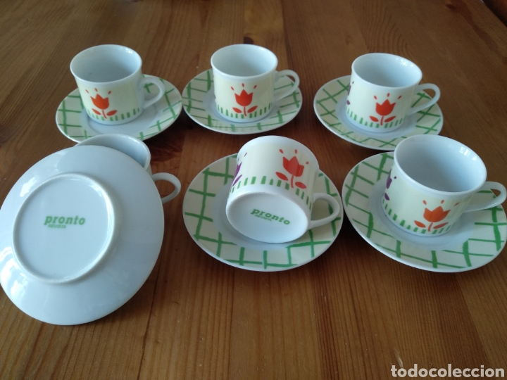 JUEGO DE SEIS TAZAS DE CAFE REVISTA PRONTO (Antigüedades - Porcelanas y Cerámicas - Otras)
