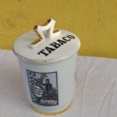 Antigüedades: IMPRESIONANTE TARRO DE TABACO PORCELANA HISPANIA IMPECABLE. Lote 222173850