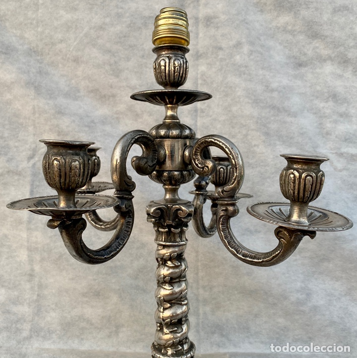 Antigüedades: Lámpara candelabro de broce plateado antigua - Foto 6 - 222185197