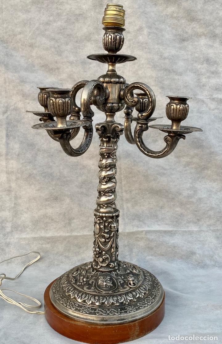 Antigüedades: Lámpara candelabro de broce plateado antigua - Foto 7 - 222185197