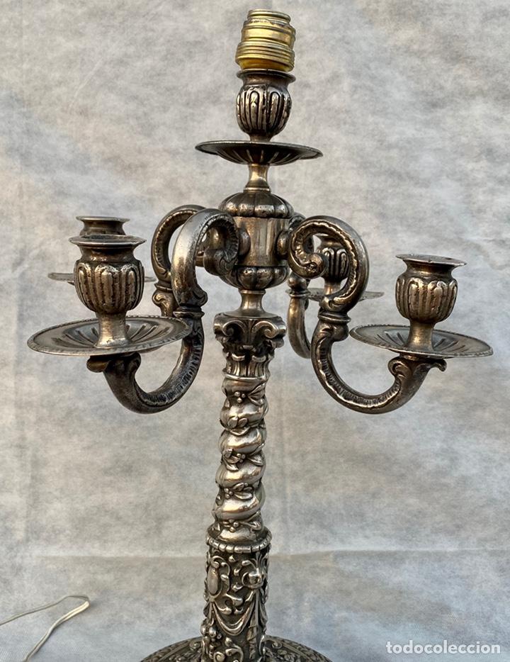 Antigüedades: Lámpara candelabro de broce plateado antigua - Foto 9 - 222185197