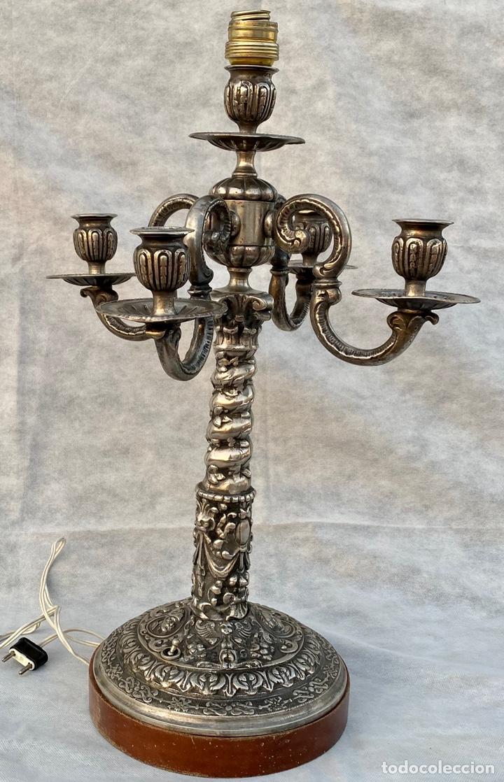 Antigüedades: Lámpara candelabro de broce plateado antigua - Foto 10 - 222185197