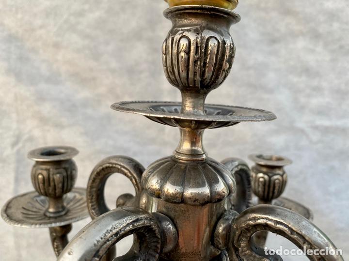Antigüedades: Lámpara candelabro de broce plateado antigua - Foto 13 - 222185197