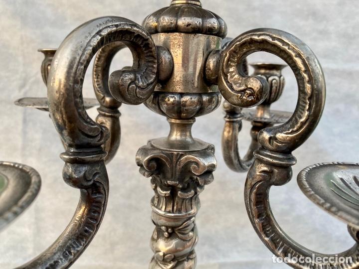 Antigüedades: Lámpara candelabro de broce plateado antigua - Foto 14 - 222185197