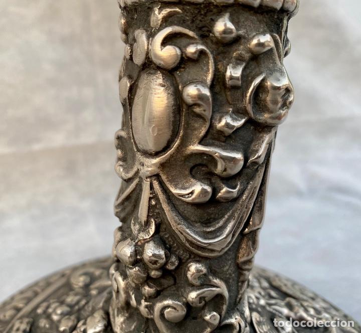 Antigüedades: Lámpara candelabro de broce plateado antigua - Foto 16 - 222185197