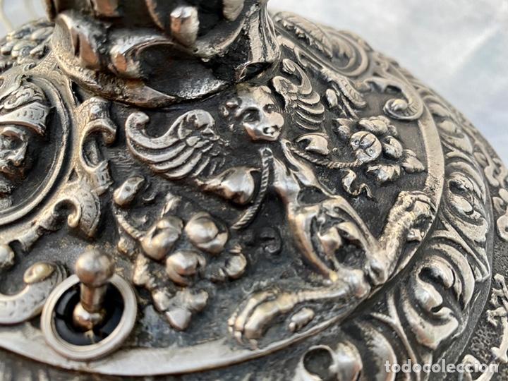 Antigüedades: Lámpara candelabro de broce plateado antigua - Foto 18 - 222185197