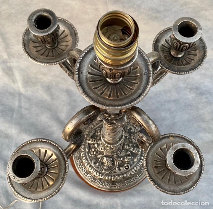 Antigüedades: Lámpara candelabro de broce plateado antigua - Foto 22 - 222185197