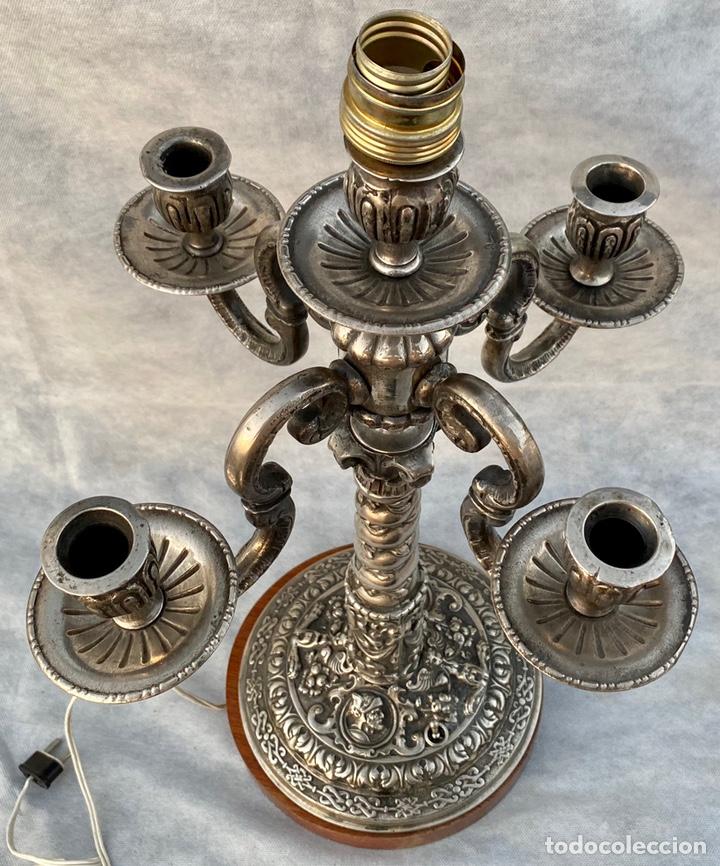 Antigüedades: Lámpara candelabro de broce plateado antigua - Foto 23 - 222185197