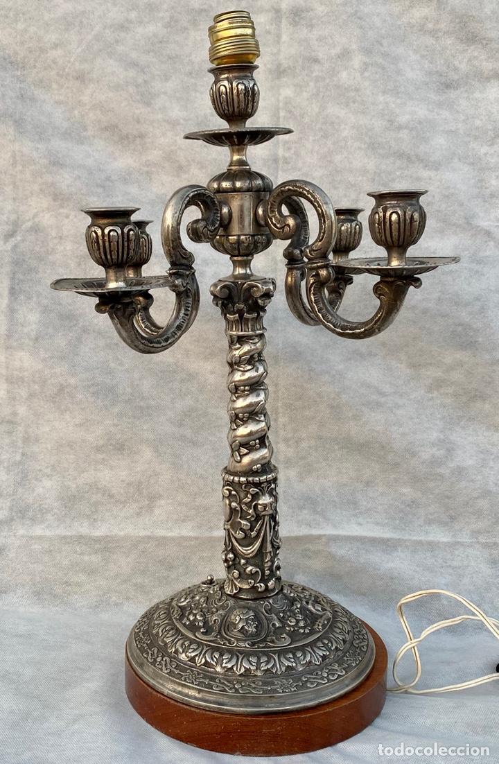 Antigüedades: Lámpara candelabro de broce plateado antigua - Foto 2 - 222185197