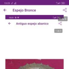 Antigüedades: ESPEJO ABANICO EN BRONCE. Lote 222228896