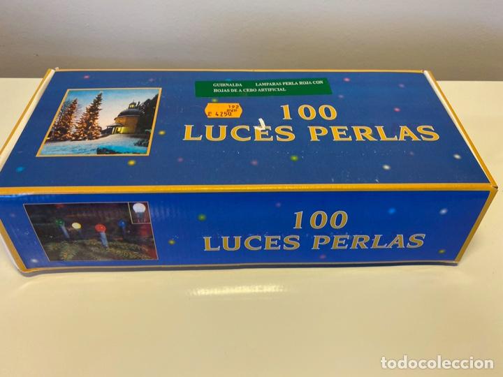 Antigüedades: LUCES DE NAVIDAD O GUIRNALDA AÑOS80/90 MODELO PERLA ACEBO 100 LUCES ROJAS NUEVAS FUNCIONANDO - Foto 3 - 222236938