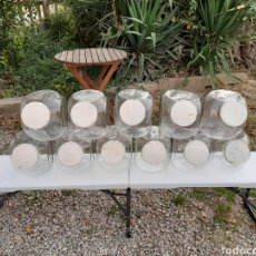 Antigüedades: ONCE BOTES PARA CARAMELOS EN CRISTAL SOPLADO DE CARAMELOS REÑE(BADALONA) AÑOS 30/40. Lote 222240157