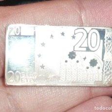 Antigüedades: LINGOTITO DE PLATA EN FORMA DE BILLETE DE 20 EUROS. Lote 222240760