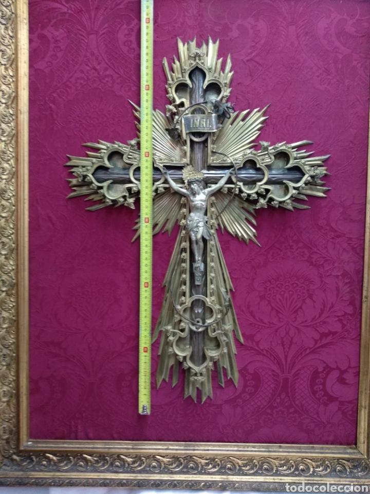 Antigüedades: Gran crucifijo de metal y bronce - Foto 5 - 222263698