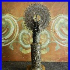 Antigüedades: VIRGEN DEL PILAR DE PLATA 925 CON LA BASE DE MARMOL. Lote 222272902