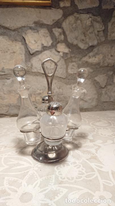Antigüedades: Antiguas vinagreras / aceiteras / convoy de cristal soplado a mano años 20-30 - Foto 2 - 222287983