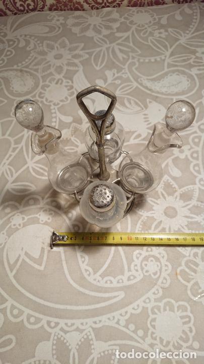 Antigüedades: Antiguas vinagreras / aceiteras / convoy de cristal soplado a mano años 20-30 - Foto 3 - 222287983