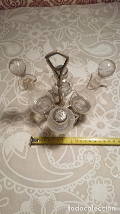 Antigüedades: Antiguas vinagreras / aceiteras / convoy de cristal soplado a mano años 20-30 - Foto 4 - 222287983