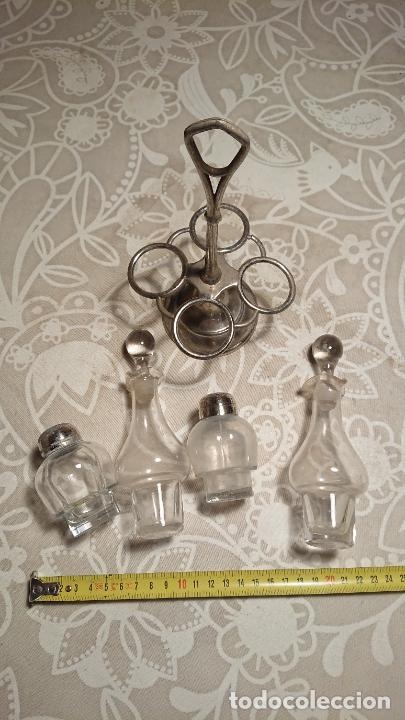 Antigüedades: Antiguas vinagreras / aceiteras / convoy de cristal soplado a mano años 20-30 - Foto 5 - 222287983