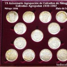 Antigüedades: 13 MEDALLAS ARRAS PLATA. 75 ANIVERSARIO AGRUPACIÓN DE COFRADÍAS DE MÁLAGA 1939 1997. 100GR. Lote 222290887