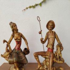 Antigüedades: FIGURAS CERÁMICA FRANJU. QUART DE POBLET, VALENCIA. SELLADAS. SOBRE 65 CMS. AÑOS 60. NO MANISES.. Lote 222315151
