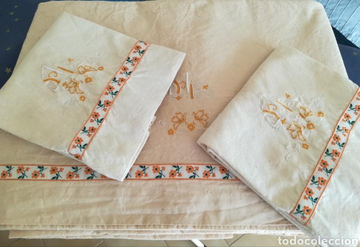 Antigüedades: Antiguo juego de cama algodón . - Foto 4 - 222325147