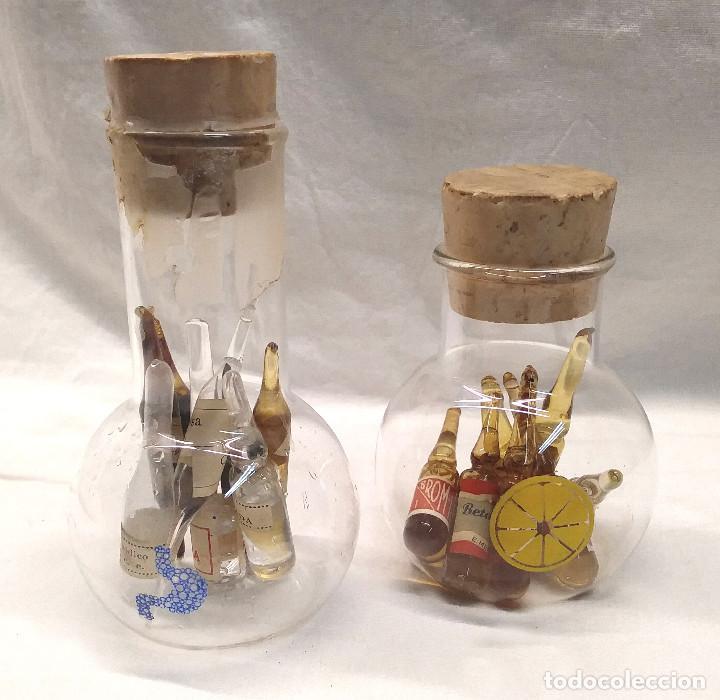 2 BOTES FARMACIA CRISTAL SOPLADO Y 16 AMPOLLAS AÑOS 30 (Antigüedades - Cristal y Vidrio - Farmacia )