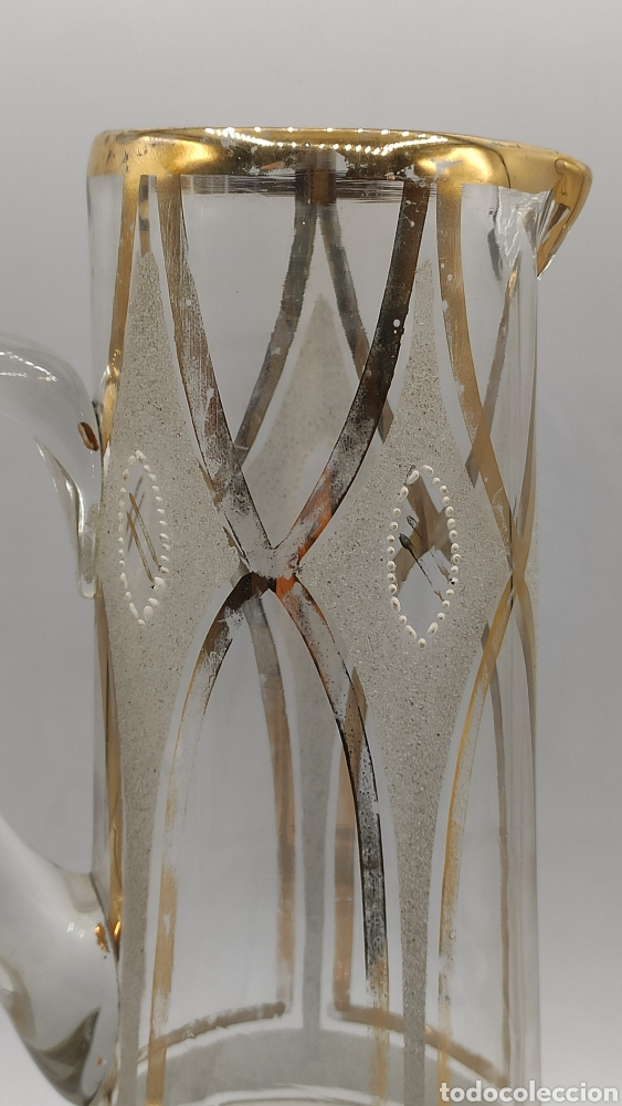 Antigüedades: Impresionante juego jarra y vaso en cristal soplado pintado en oro y esmalte. La granja? Siglo XIX - Foto 2 - 222337088