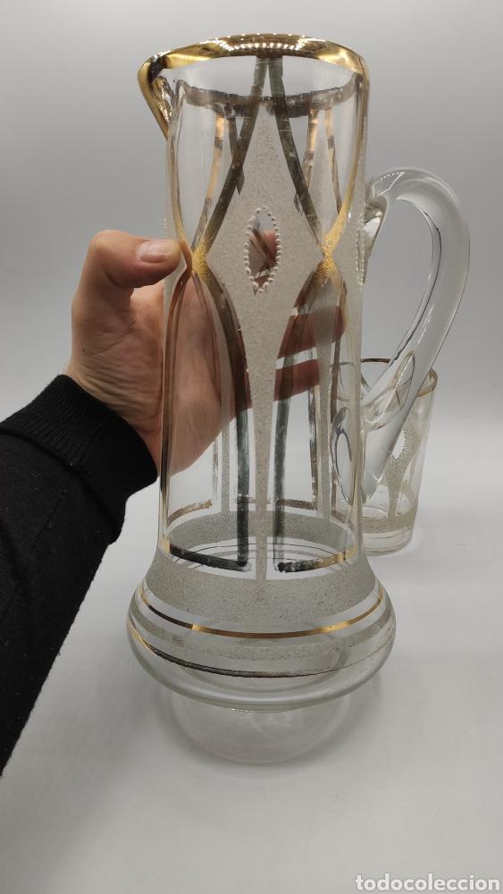 Antigüedades: Impresionante juego jarra y vaso en cristal soplado pintado en oro y esmalte. La granja? Siglo XIX - Foto 6 - 222337088