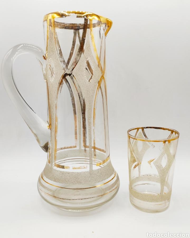 IMPRESIONANTE JUEGO JARRA Y VASO EN CRISTAL SOPLADO PINTADO EN ORO Y ESMALTE. LA GRANJA? SIGLO XIX (Antigüedades - Cristal y Vidrio - La Granja)
