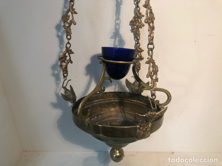 Antigüedades: LAMPARA DE IGLESIA VOTIVA DE BRONCE Y LATON ANTIGUA. - Foto 3 - 222347731