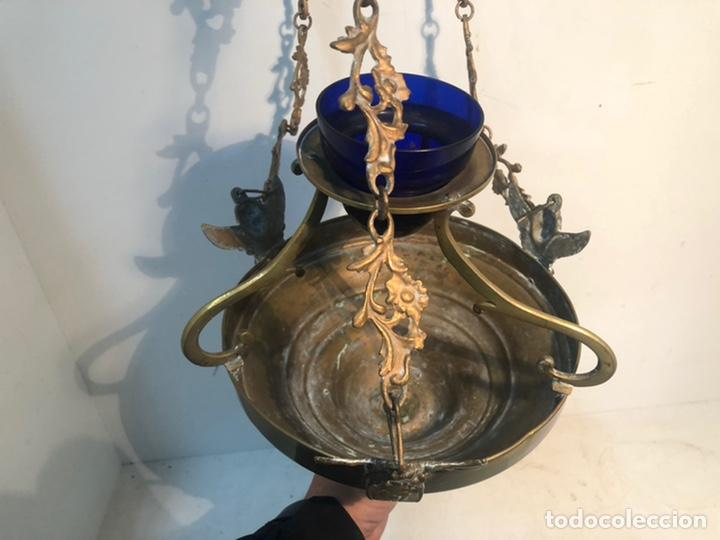 Antigüedades: LAMPARA DE IGLESIA VOTIVA DE BRONCE Y LATON ANTIGUA. - Foto 7 - 222347731