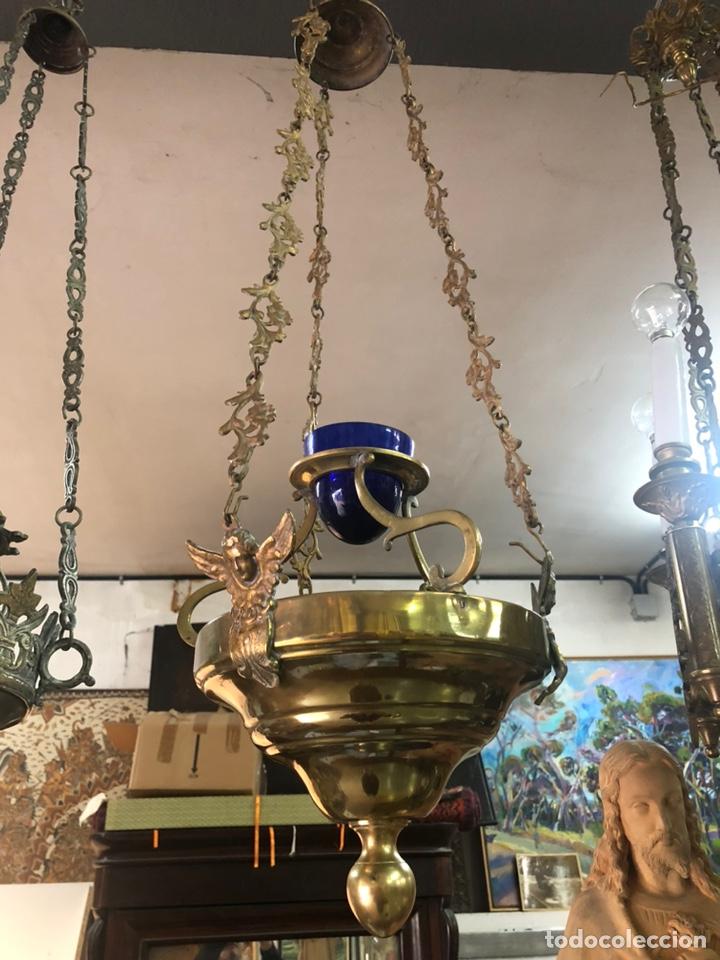 Antigüedades: LAMPARA DE IGLESIA VOTIVA DE BRONCE Y LATON ANTIGUA. - Foto 9 - 222347731