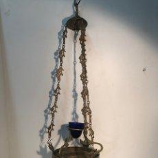 Antigüedades: LAMPARA DE IGLESIA VOTIVA DE BRONCE Y LATON ANTIGUA.. Lote 222347731
