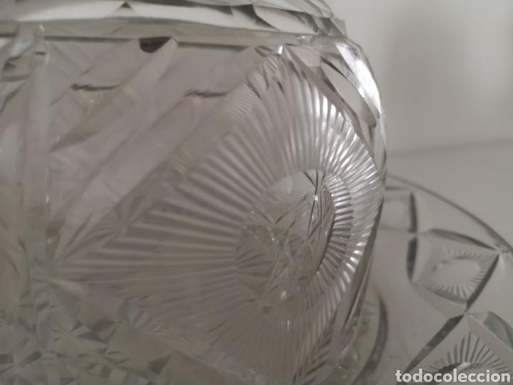 Antigüedades: Preciosa y antigua Tartera - quesera de cristal de bohemia tallado - Foto 2 - 222351192