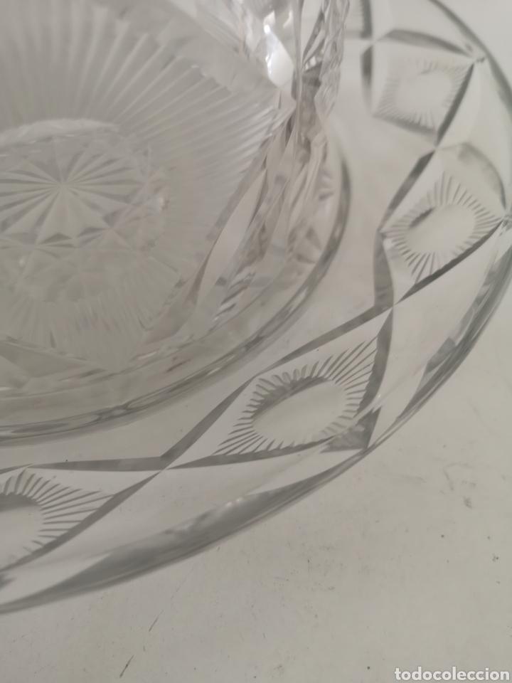 Antigüedades: Preciosa y antigua Tartera - quesera de cristal de bohemia tallado - Foto 6 - 222351192