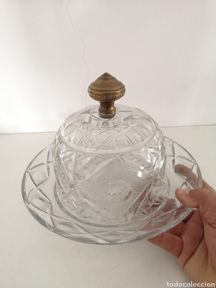 Antigüedades: Preciosa y antigua Tartera - quesera de cristal de bohemia tallado - Foto 7 - 222351192
