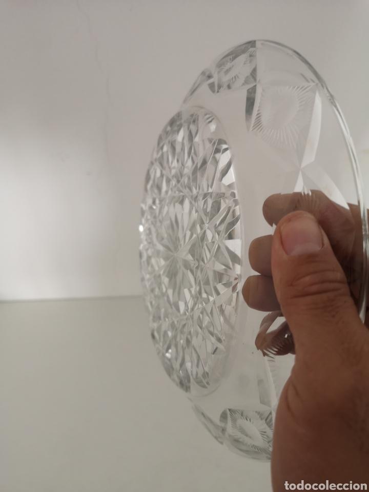 Antigüedades: Preciosa y antigua Tartera - quesera de cristal de bohemia tallado - Foto 9 - 222351192