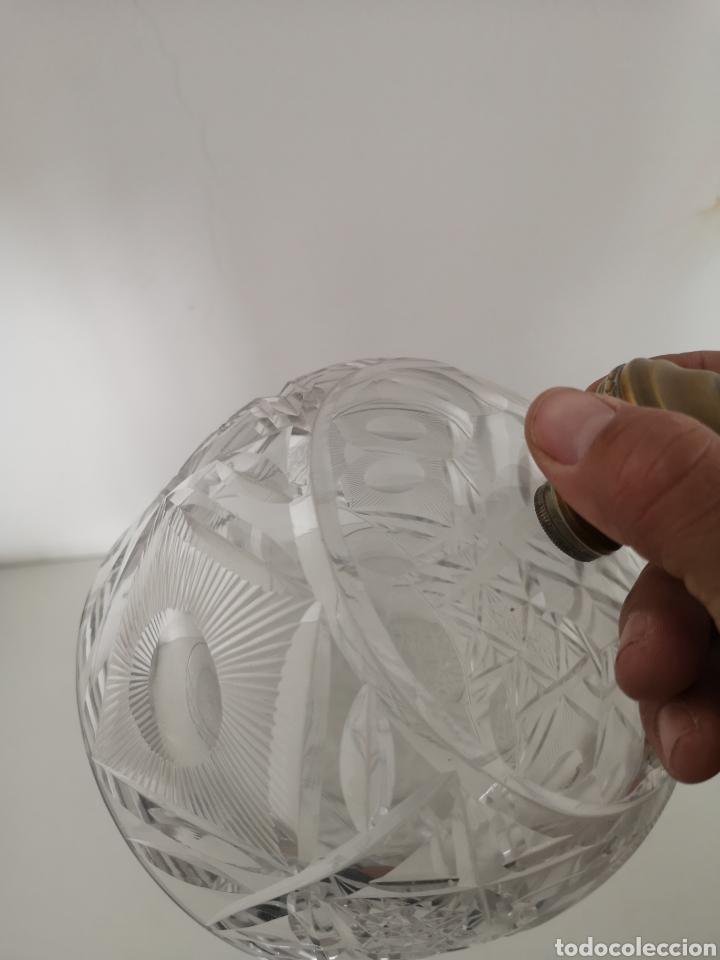 Antigüedades: Preciosa y antigua Tartera - quesera de cristal de bohemia tallado - Foto 13 - 222351192