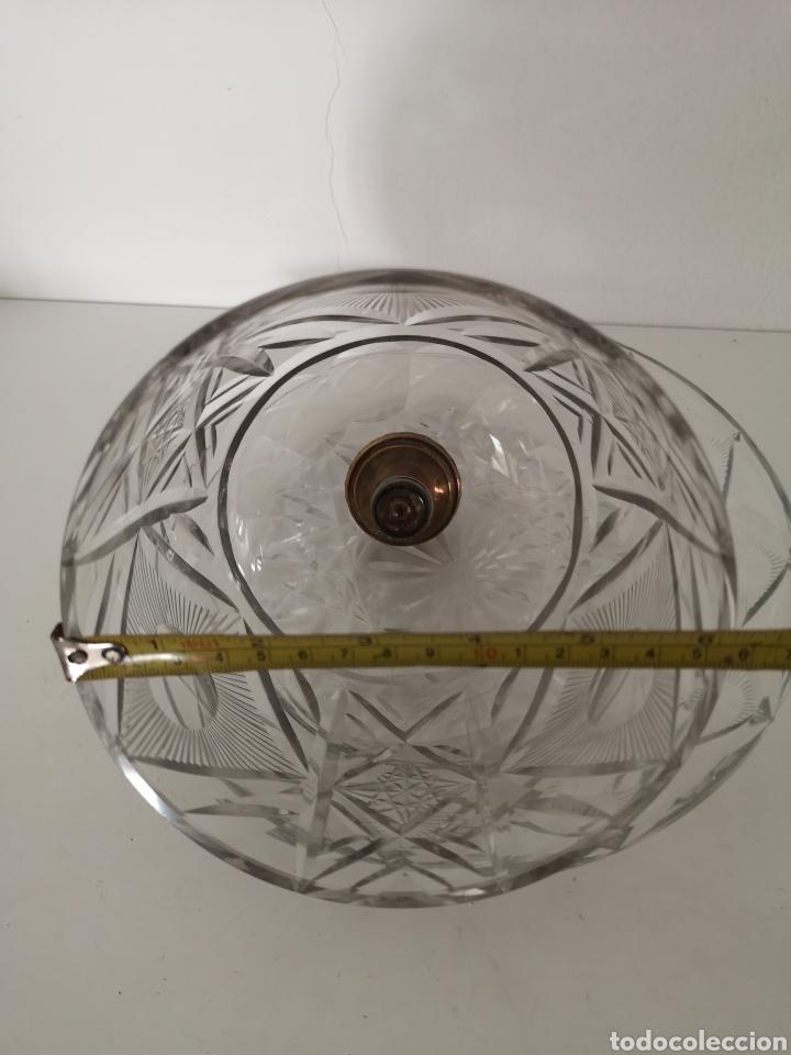 Antigüedades: Preciosa y antigua Tartera - quesera de cristal de bohemia tallado - Foto 15 - 222351192