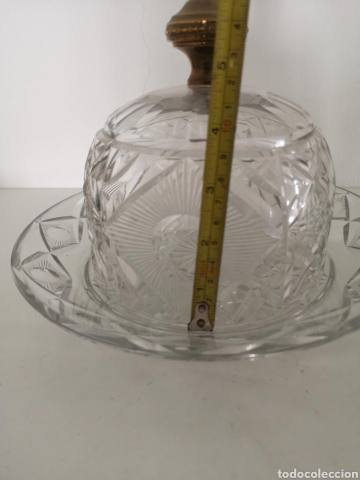 Antigüedades: Preciosa y antigua Tartera - quesera de cristal de bohemia tallado - Foto 16 - 222351192