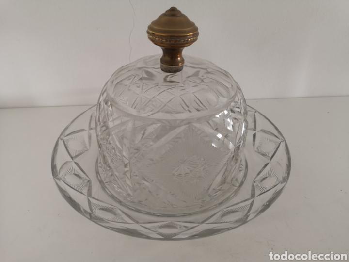 PRECIOSA Y ANTIGUA TARTERA - QUESERA DE CRISTAL DE BOHEMIA TALLADO (Antigüedades - Cristal y Vidrio - Bohemia)
