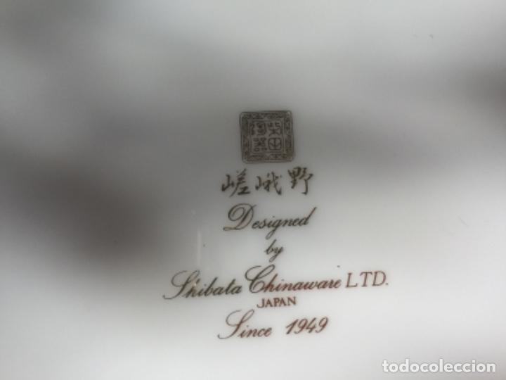 Antigüedades: 2 Platos Porcelana Japonesa Shibata Chinaware. Pintados a Mano. Sello y Firma. Japón 1949 - Foto 8 - 222355678