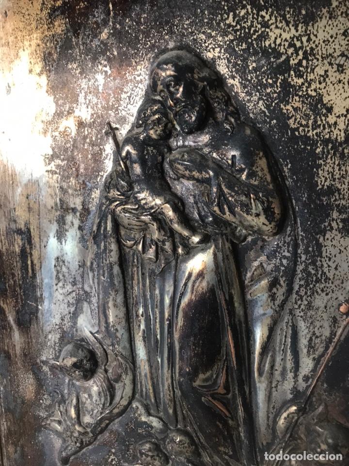 Antigüedades: CUADRO RELIGIOSO METÁLICO - Foto 2 - 222359540
