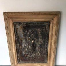 Antigüedades: CUADRO RELIGIOSO METÁLICO. Lote 222359540