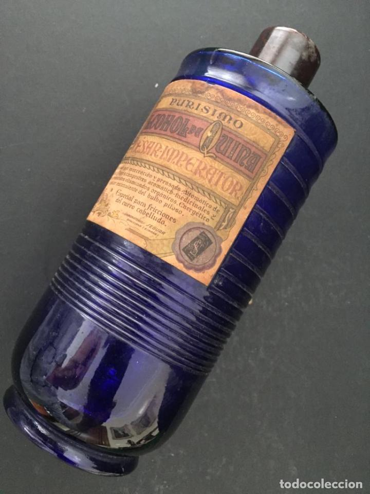 BOTELLA CRISTAL FARMACIA - PURISIMO ALCOHOL DE QUINA (CESAR IMPERATOR) LABORATORIOS SEGURA (Antigüedades - Cristal y Vidrio - Farmacia )